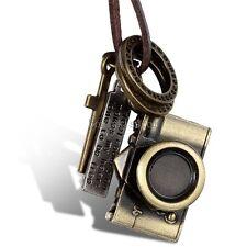 Men Women Bronze Tone Camera Pendant Necklace w Brown Adjustable Leather Chain
