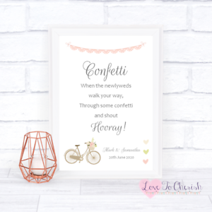 Vintage Bike /& Pink Lace Bunting Theme Personalised CONFETTI Wedding Sign