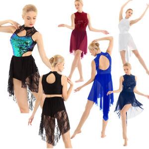 Women-Ladies-Lyrical-Dress-Shiny-Sequins-Ballet-Dance-Costume-Gym-Leotard-Skirt