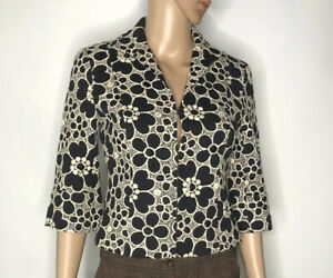 Lafayette 148 Womens Brocade Floral Blazer Jacket Size 0P Navy Blue Cotton