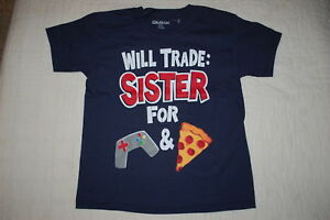 e64f7a7b Boys S/S Tee Shirt WILL TRADE SISTER FOR VIDEO GAMES & PIZZA Navy ...