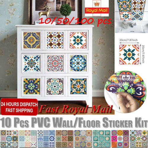 10//50xMorocco Tile Stickers Kitchen Bathroom Mosaic Sticker Waterproof Home Wall