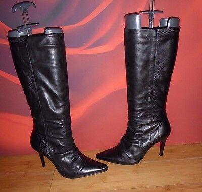 * 18 * Excelente Cuero Negro FE estilo Slouch parcial Botas Mitad de Pantorrilla UK 6 EU 39