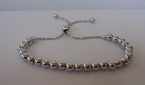 ITALIAN MADE  BEADED BRACELET/925 STERLING SILVER /8'' ADJUSTABLE