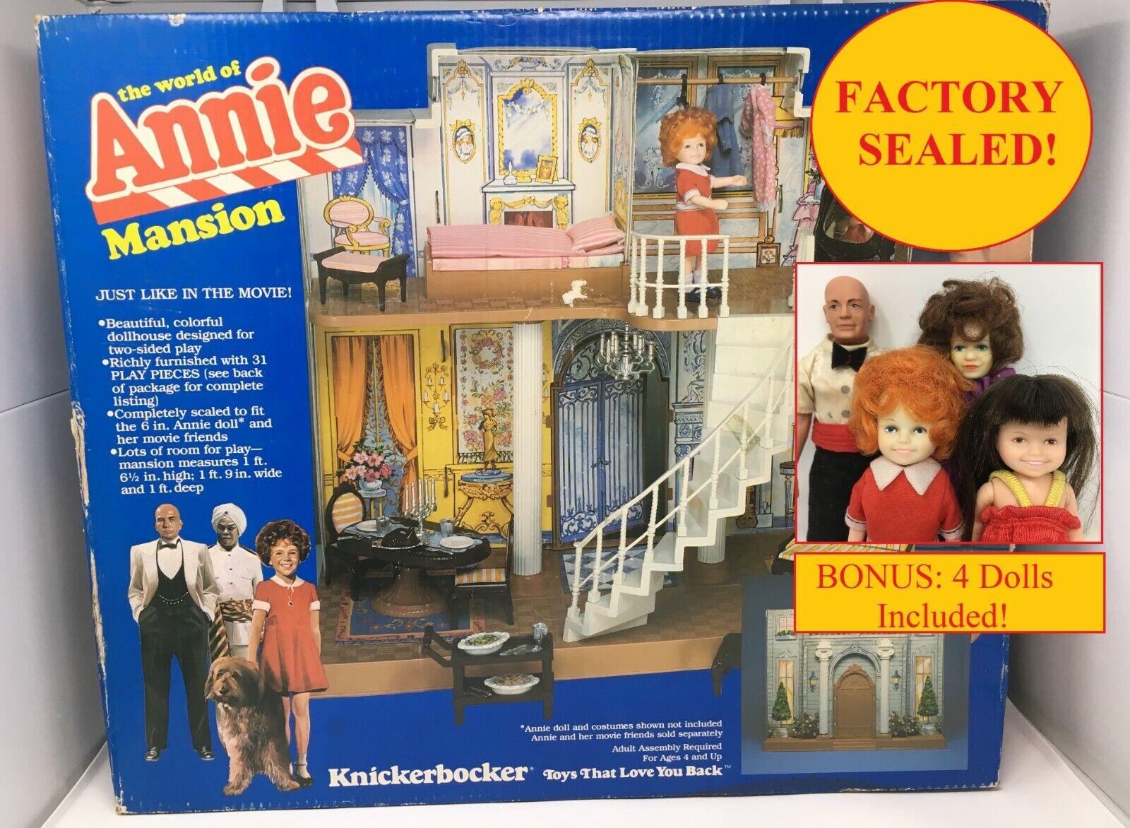 1982 The World of Annie Mansion Knickerbocker Doll House Playset w  Dolls SEALED