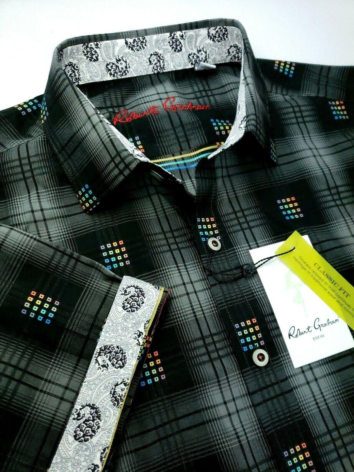Robert Graham Motivo a cuadros impresión Colorida Jacquard Camisas Mangas  Cortas  ventas calientes