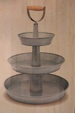Galvanized Three Tier Server Stand 3 TRAY Round Wood Handle Food Safe Tray New