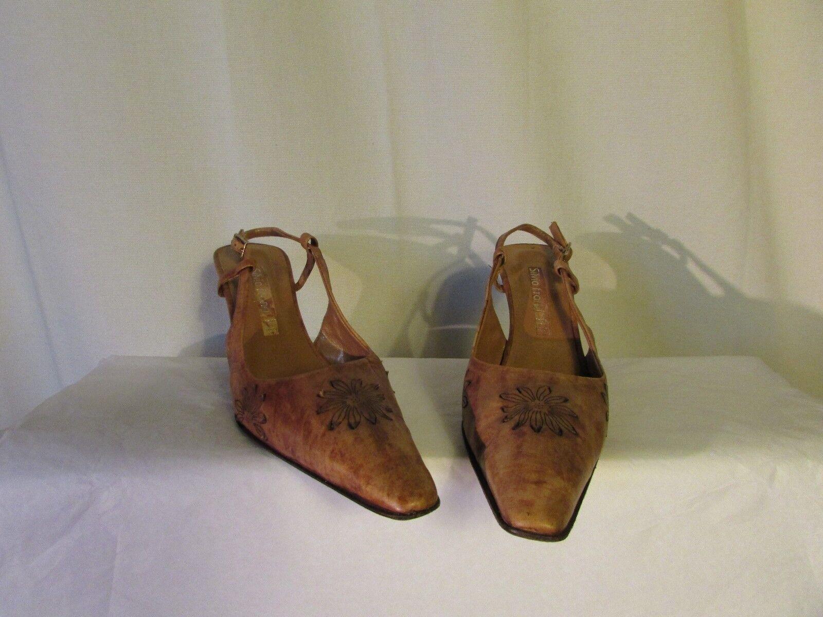 sandales compensées SILVIA FRANCI cuir caramel vieilli 39