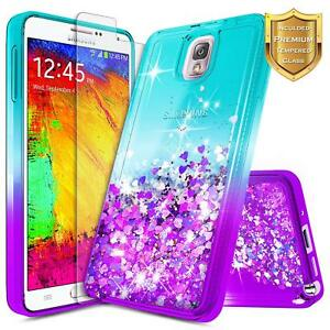 For-Samsung-Galaxy-Note-3-Liquid-Glitter-Bling-TPU-Case-Cover-Tempered-Glass