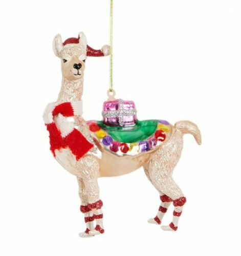 Sass /& Belle Anhänger Lama Alpaka Weihnachtsanhänger Christbaum Glas Llama