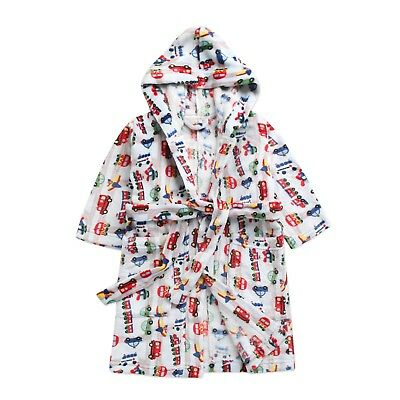 "Vaenait Babys Kids Soft Plush Hooded Bathrobes Dressing Gowns ""traffic"" 1-7t"