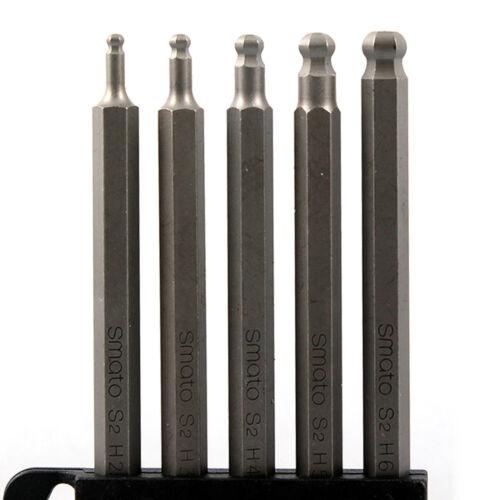 """New 5pcs 1//4/"""" Dr 2.5mm~6mm Metric Ball Point Hex Long Bits Socket Set SM-BBS110"""