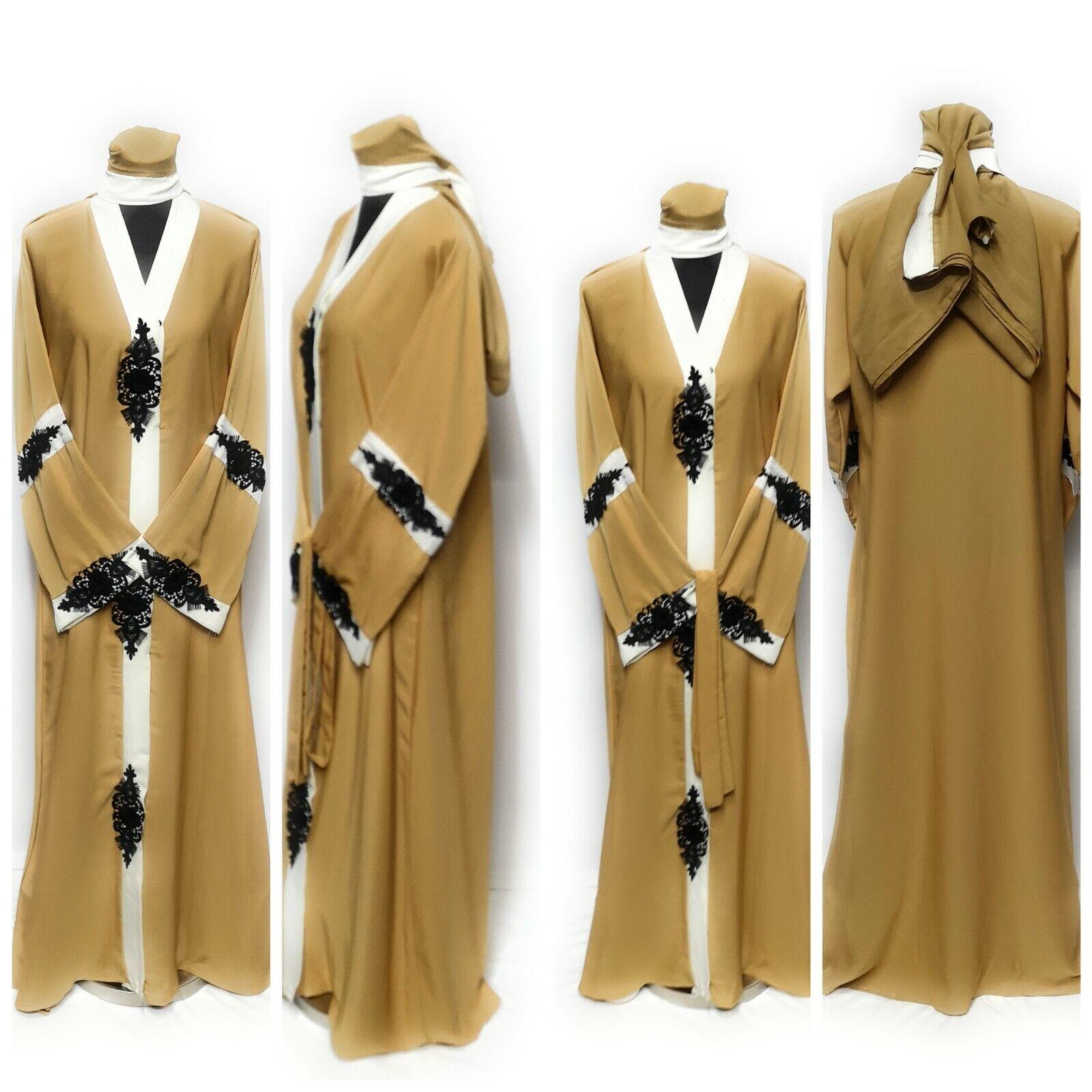 Woman open front abaya dress maxi saudi farasha jilbab burka long kaftan