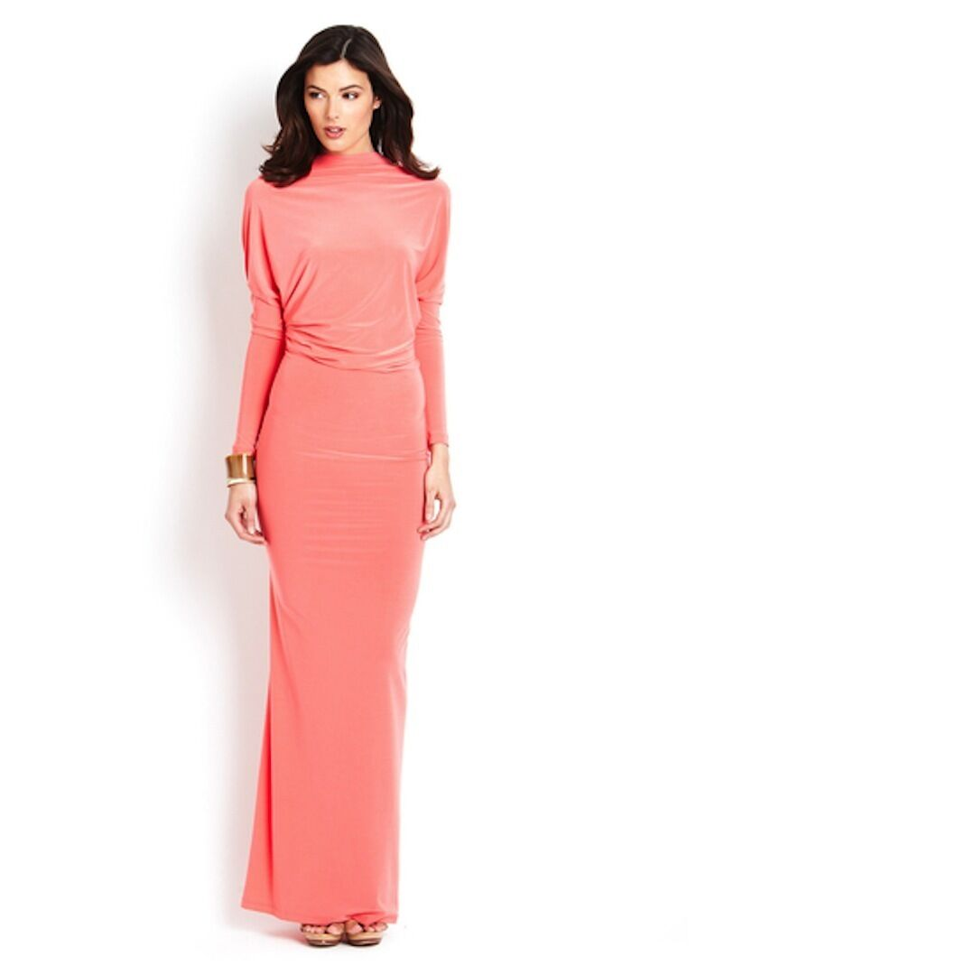 NWT GRACIA V back  prom occasion cocktail social jersey maxi dress Coral Rosa L