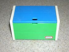 Little Tikes Doll House Size White, Green & Blue Toy Box with Lid