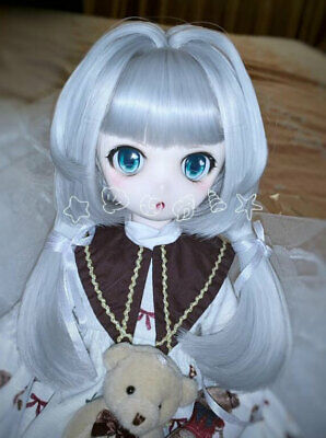 "1//4 7-8/"" 18-20cm Bjd Wig Hair Doll Shoulder Long Light Silver Gray Grey Bob Z-1#"