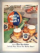 Pabst Blue Ribbon Beer PRINT AD - 1952 ~~ pool beach ball