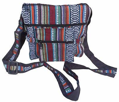 Fair Trade Baumwolle Gheri Streifen Hippy boho Schulter DOPPEL PASS Reisetasche