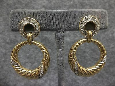 Vintage Trifari Pierced Post Earrings Large Drop Dangle Gold Finish w/Rhinestone
