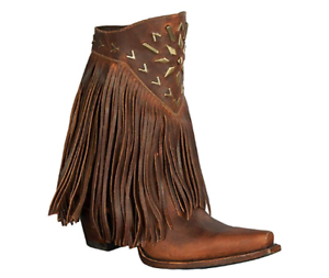New in Box Lane Women's Fringe It Cowgirl Boot Snip Toe Brown 6.5 M US LB0261A