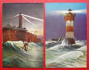 2-x-Kuenstler-AK-WANGEROOGE-und-HELGOLAND-Leuchtturm-Leuchttuerme-15958