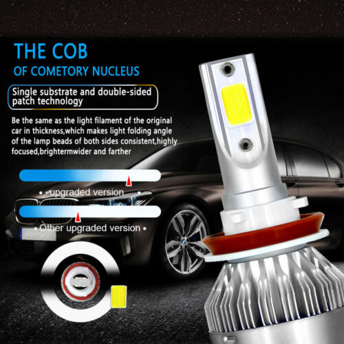 2PC H9 H11 18000LM LED Headlight Bulb High Beam for Chevy Impala 2006-2013 White