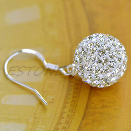 Silver Plated Layered Shamballa Disco Ball Paive Drop Earrings Hot