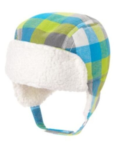GYMBOREE FUN FLURRIES MULTI COLOR PLAID FUR LINED TRAPPER HAT 0 3 12 18 24 NWT