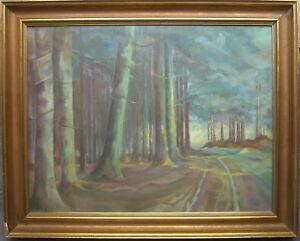 ARTHUR-MUNK-1889-LISTED-ARTIST-PASTELL-WALDWEG-ABENDSTIMMUNG-BUCHEN-ANTIK