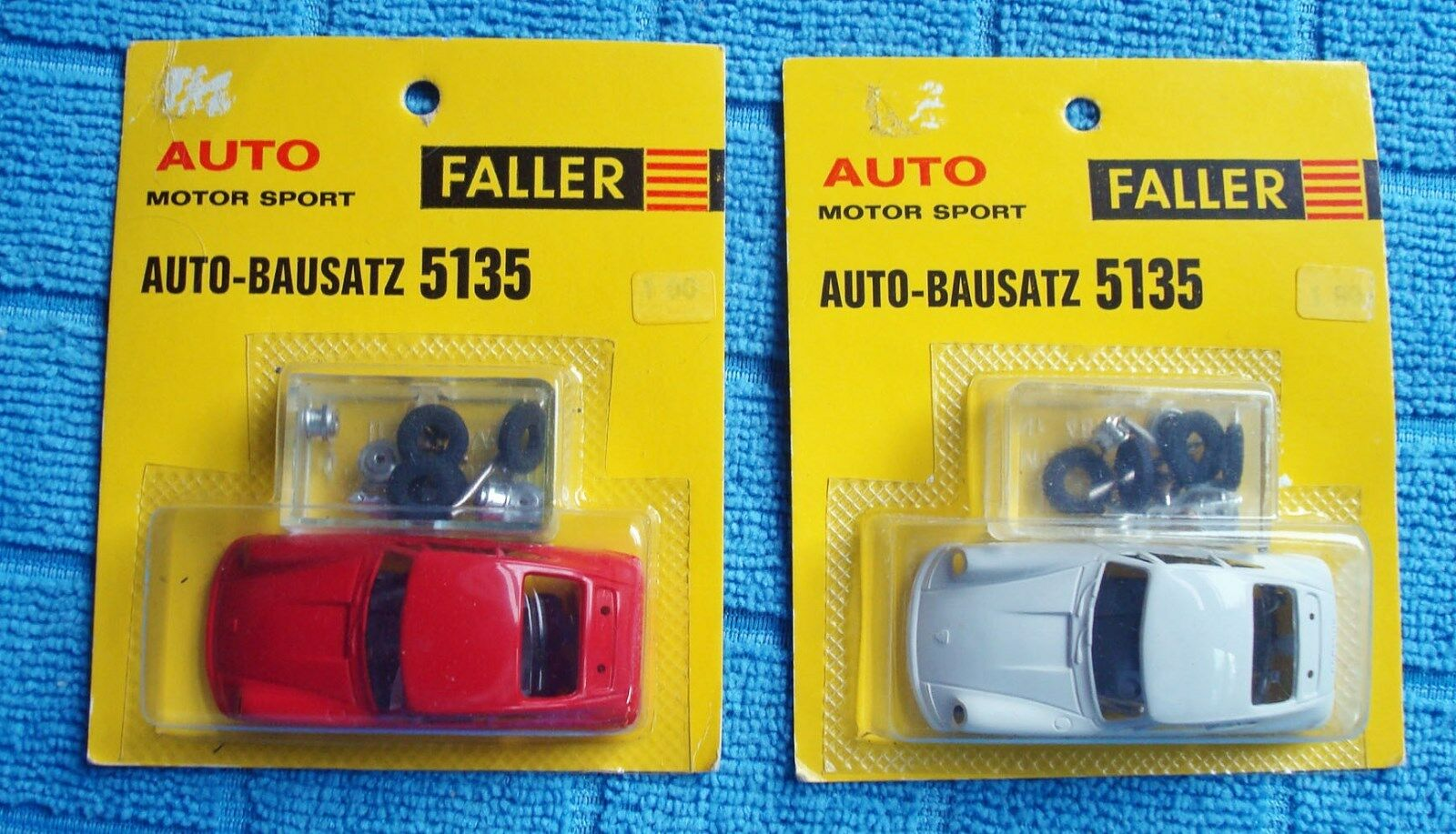 Pair (2) Faller Porsche 911 HO Car Kits, Red & White, Mint on Cards