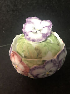 OCI Ceramic Pansy Covered Dish for Candy, Trinkets, Nuts