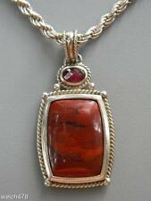 Designer Whitney Kelly Sterling Red Jasper & Garnet Pendant w/Sterling Chain