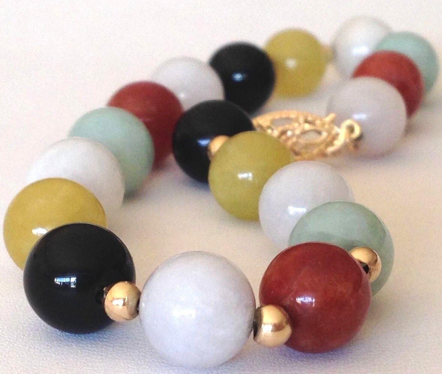 VTG JADE BRACELET Solid 14K gold 7.5   Multi-color Round Carved jade Beads GUC \