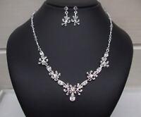 Handmade Diamante Wedding Jewellery Set Teardrop Necklace And Earrings Jewelry