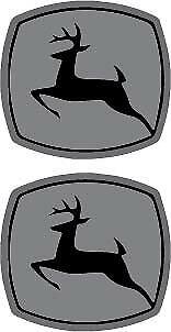 """2 Pair John Deere Logo Black Printed on Silver Vinyl Decal 2.0/"""" x 2.0/"""" p554"""