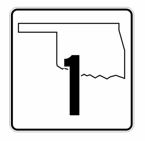 Oklahoma State Highway 1 Sticker Decal R5554 Highway Route Sign