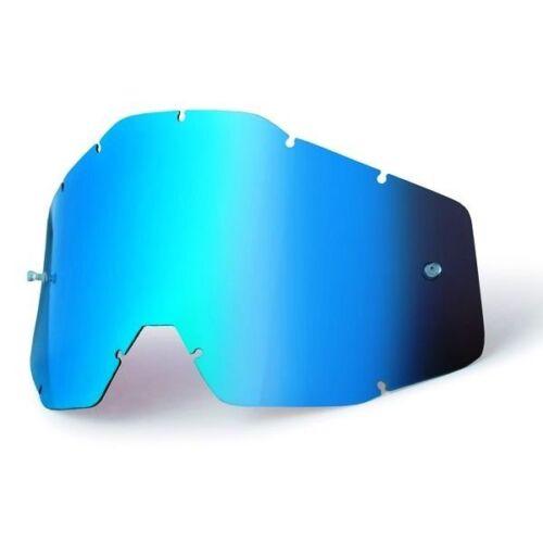 100/% motocross goggle replacement lens Mirror Blue Accuri Strata Racecraft