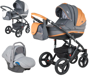 Adamex-VICCO-Carmel-amp-Grey-3in1-luxury-stroller-kinderwagen-pushchair-car-seat