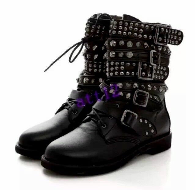 Boots Gothic Studded Black Alternative Emo Grunge Rock Punk Size 7.5 Au Festival