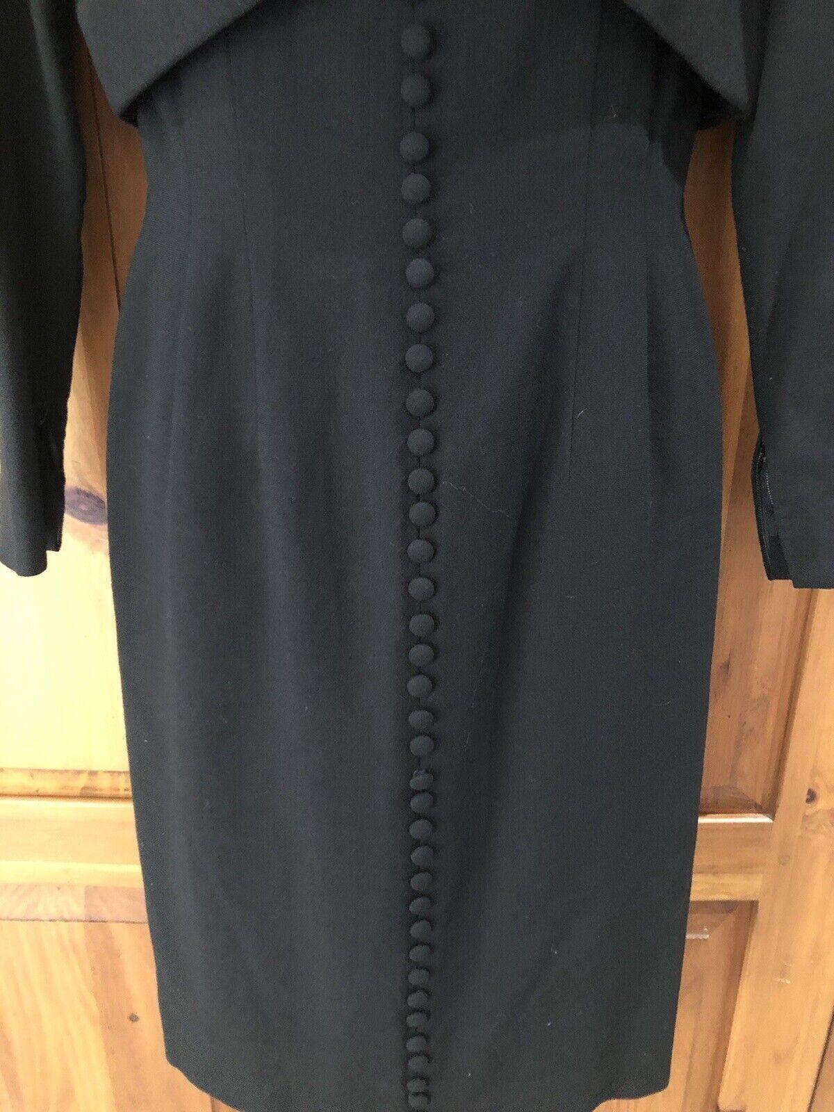 Travilla vintage 60s/70s black wool crepe dress s… - image 4