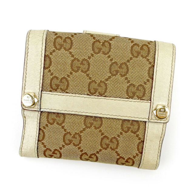 b9e4cb5c461 Gucci Wallet Purse G logos Beige Brown Woman unisex Authentic Used T4320