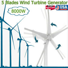 8000w Wind Turbine Generator Unit 5 Blades Dc 12v With Power Charge Controller