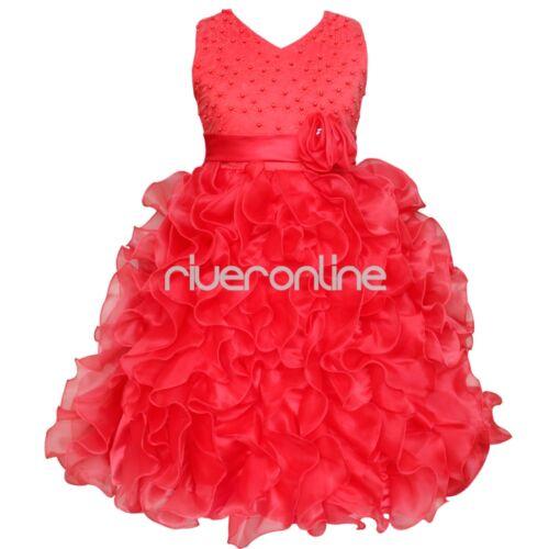Children Ruffles Wedding Christening Flower Girl Communion Party Dress Size 92-140