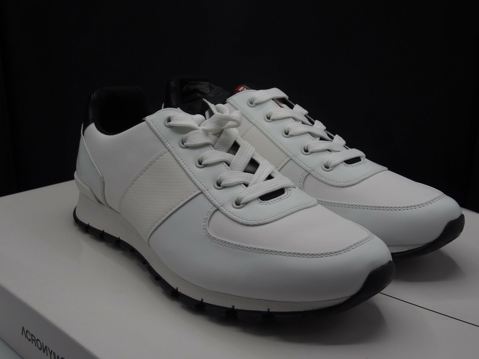 927d052e PRADA White Leather Runner Retail Men's size US 10 nrdnsi9198-Casual ...