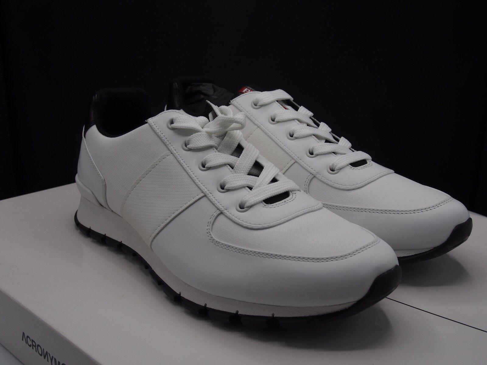 73e8b047c942 PRADA White Leather Runner Retail 650 Men s size size size 10 US 1014e8