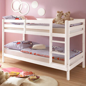 Details zu Hochbett Etagenbett Moritz Kinderzimmer Bett 90x200 Kiefer  massiv weiß Leiter