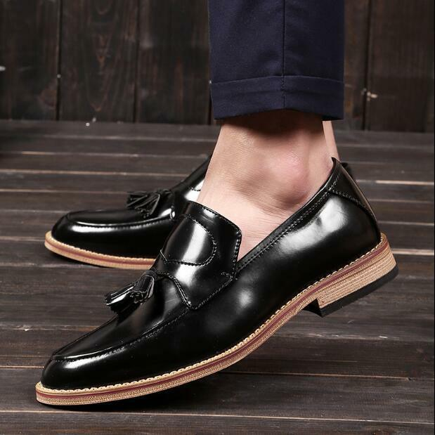 Mens Formal Loafers Tassels Brogues Oxfords Casual Patent Leather shoes Heels U8