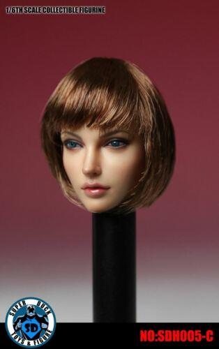 SUPER DUCK 1//6 Female America Europe Head Sculpt Carved Hair f//Action Figure