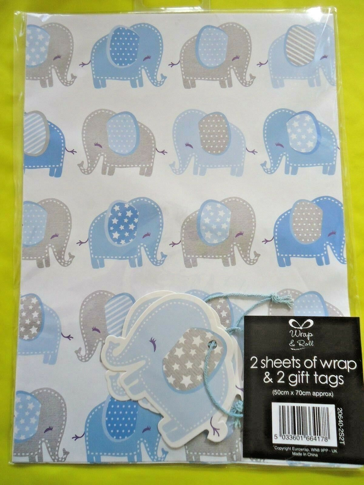 NEW BABY BOY GIFT WRAPPING PAPER - 2 SHEETS & 2 TAGS - Blau BIRTHDAY WRAP