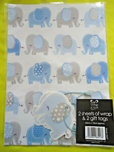 Details About NEW BABY BOY GIFT WRAPPING PAPER